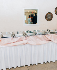 White tablecloth buffet