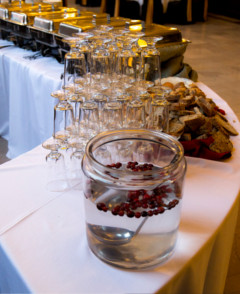 Buffet line, cranberry infused lemon punch